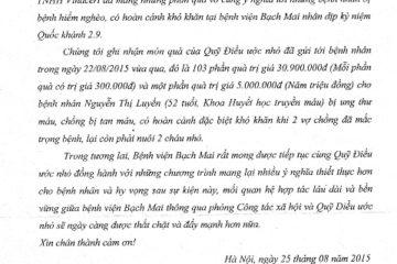 Thư cảm ơn của Bệnh viện Bạch Mai gửi tới Quỹ Điều Ước Nhỏ